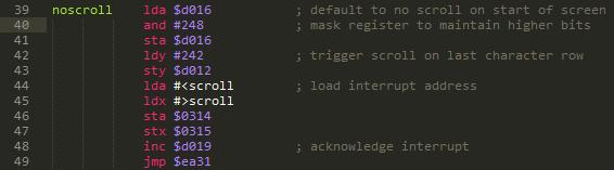 Scroller setup code