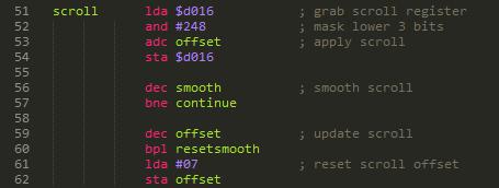 Single line scroll code