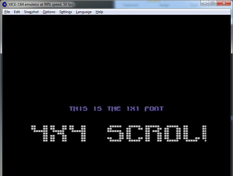 4x4 C64 text scroller